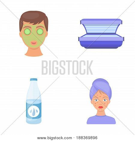 Face mask, solarium, bottle ts lasenom, pimples on face. Skin Care set collection icons in cartoon style vector symbol stock illustration .
