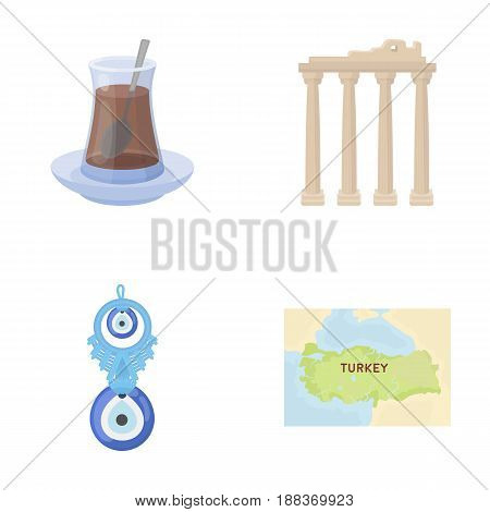 Turkish tea, amulet, ruins of antiquity, map of the territory. Turkey set collection icons in cartoon style vector symbol stock illustration .