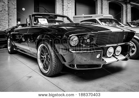 BERLIN GERMANY - MAY 17 2014: Shelby Mustang GT500 Cabrio Eleanore (1967) - is a high-performance version of the Ford Mustang. Black and white. 27th Oldtimer Day Berlin - Brandenburg