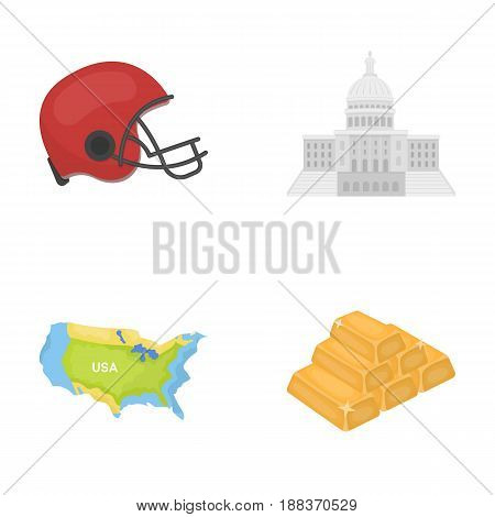 Football player's helmet, capitol, territory map, gold and foreign exchange. USA country set collection icons in cartoon style vector symbol stock illustration .