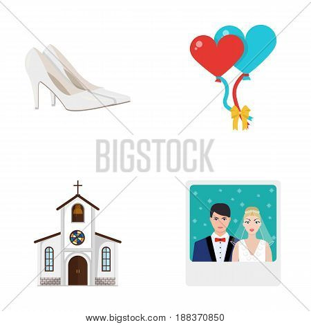 Elegant wedding shoes with heels, balloons for the ceremony, a church with a stained-glass window and a bell, a picture of the bride and groom. Wedding set collection icons in cartoon style vector symbol stock illustration .