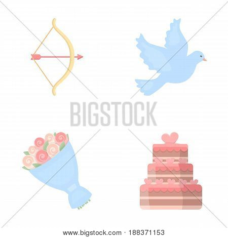 Arrow cupid, dove, bouquet of flowers, wedding cake. Wedding set collection icons in cartoon style vector symbol stock illustration .