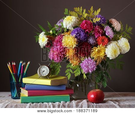Bouquet and book. Back to school. September 1. The Teacher's Day. The Day Of Knowledge