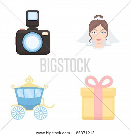 Bride, photographing, gift, wedding car. Wedding set collection icons in cartoon style vector symbol stock illustration .