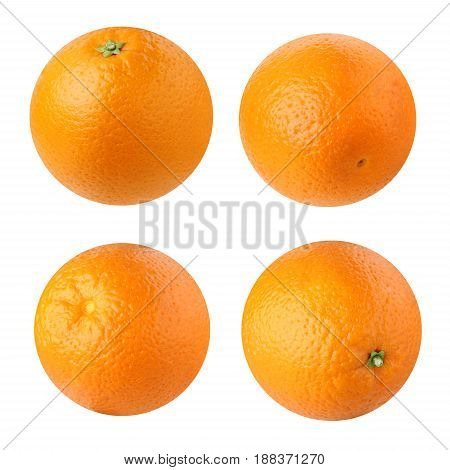 Oranges isolated on a white background. Tropical fruits, citrus. Different camera angles.
