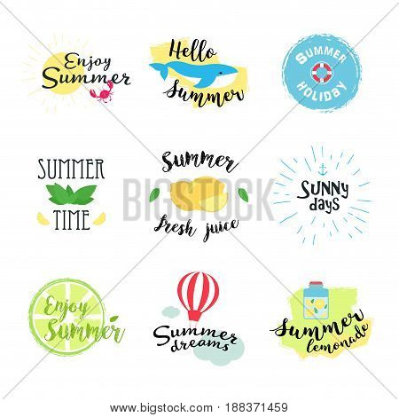 Summer labels logos hand drawn tags and elements set for summer holiday travel beach vacation sun. Vector illustration