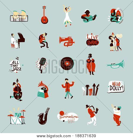 Jazz musicians and various musical instruments flat icons set isolated vector illustration