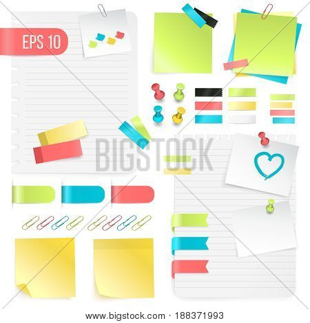 Colorful paper notes set in realistic style with pushpins adhesive tapes and paper clips isolated vector illustration