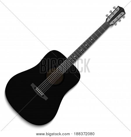 Musical instrument. Black acoustic guitar isolated on white background. Vector illustration