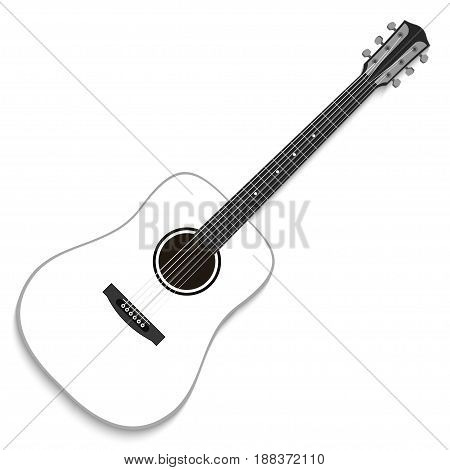 Musical instrument. White acoustic guitar isolated on white background. Vector illustration