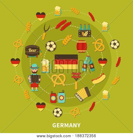 Travel composition of flat isolated germany traditional food and drinks emoji style images and national symbols vector illustration