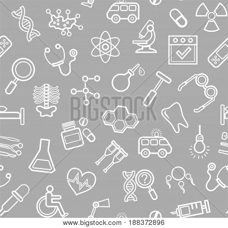 Medicine, grey background, seamless, contour icons, vector. White, line drawings, medical services and tools on a gray field. Vector background.