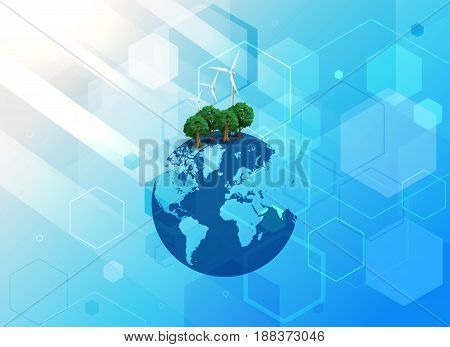 Abstract digital technology connection on Earth concept background. Background of environmental protection. Vector illustration