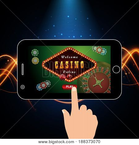 Online casino marketing banner tap to play button. Mobile phone with screenshot of logo with roulette casino chips. Vector
