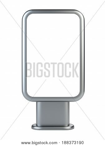 Vertical blank outdoor stand banner. Lightbox front wiew. 3d Illustration isolated on a white background.