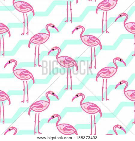 Pink flamingo on chevron blue and white pattern. Fabric summer exotic bird seamless surface print.