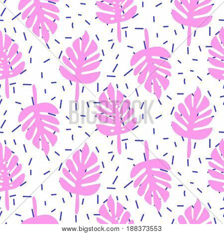 Tropic palm monstera pink leaves seamless pattern. Summer fun design for fabric, wallpaper or apparel with tiny particles on white.