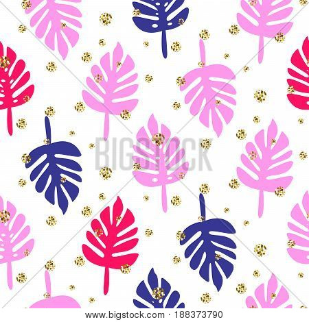 Monstera tropic palm pink and blue leaves seamless pattern. Summer fun design for fabric, wallpaper or apparel with glitter dots.