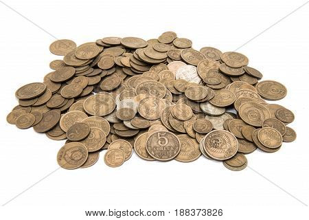 numismatics, object Retro coins ussr on white background
