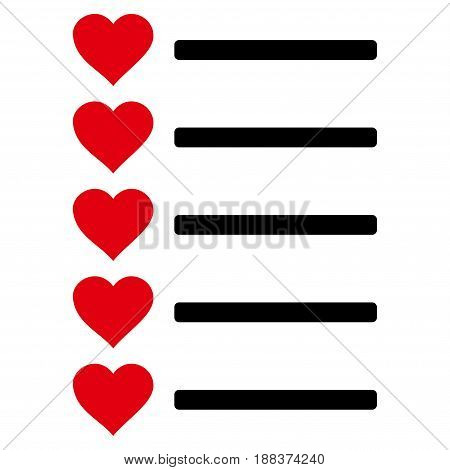 Favourites List flat icon. Vector bicolor red and black symbol. Pictograph is isolated on a white background. Trendy flat style illustration for web site design, logo, ads, apps, user interface.