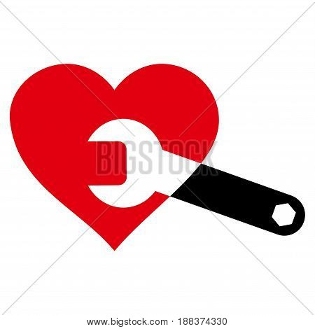 Heart Surgery Wrench flat icon. Vector bicolor red and black symbol. Pictograph is isolated on a white background. Trendy flat style illustration for web site design, logo, ads, apps, user interface.