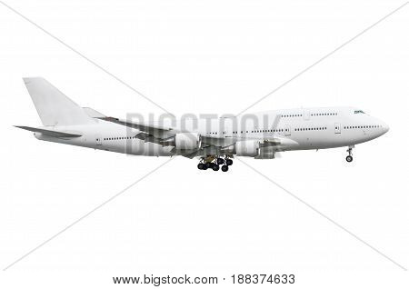 Large passenger white two-storey aircraft airplane insulated isolated white background