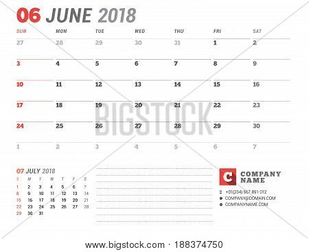 Calendar Template For 2018 Year. June. Business Planner Template. Stationery Design. Week Starts On