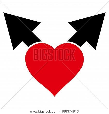 Love Variant Arrows flat icon. Vector bicolor red and black symbol. Pictograph is isolated on a white background. Trendy flat style illustration for web site design, logo, ads, apps, user interface.
