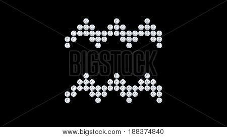 3D illustration isolated aquarius zodiac diamond stone on a black background
