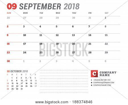 Calendar Template For 2018 Year. September. Business Planner Template. Stationery Design. Week Start