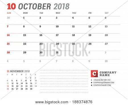 Calendar Template For 2018 Year. October. Business Planner Template. Stationery Design. Week Starts