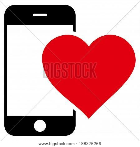 Lovely Smartphone flat icon. Vector bicolor red and black symbol. Pictogram is isolated on a white background. Trendy flat style illustration for web site design, logo, ads, apps, user interface.