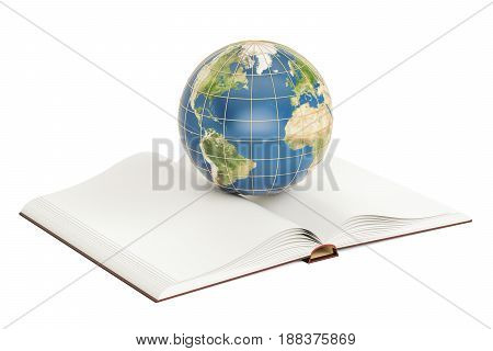 E-learning concept opened book with Earth globe. 3D rendering isolated on white background