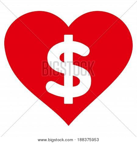 Paid Love flat icon. Vector red symbol. Pictogram is isolated on a white background. Trendy flat style illustration for web site design, logo, ads, apps, user interface.