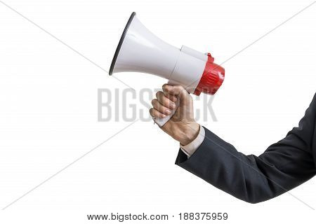 Announcement Concept. Hand Holds Megaphone. Isolated On White Ba