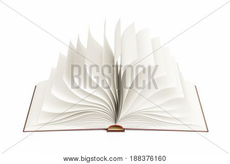 Opened blank book template. 3D rendering isolated on white background