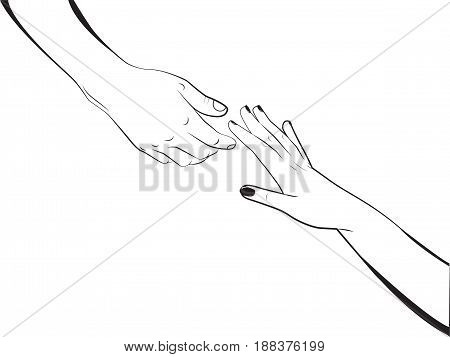 The man gives a hand to a woman. Vector illustration