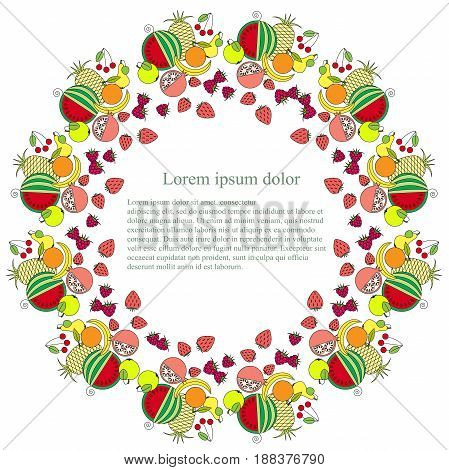 Round background with colored painting fruits, Lorem ipsum. Flat design stock vector illustration