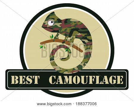 Vector image of a chameleon in a camouflage color with an inscription. Suitable as advertising camouflage clothing and shop chevron.