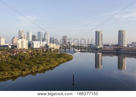 The morning view of Harbour Island and Tampa downtown (Florida).