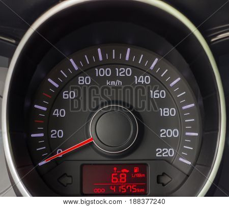Speedometer car close-up. The arrow of the speedometer at zero