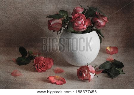 Still-life of red roses in a white vase.