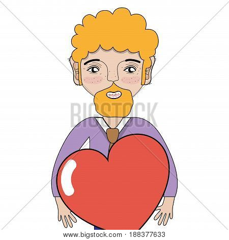 man with beard and heart in the hands, vector illustration