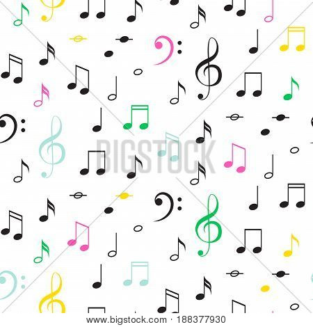 Music notes seamless vector pattern. Black and color notes on white background.