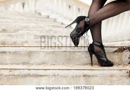 Stiletto heel shoes with beautiful female legs