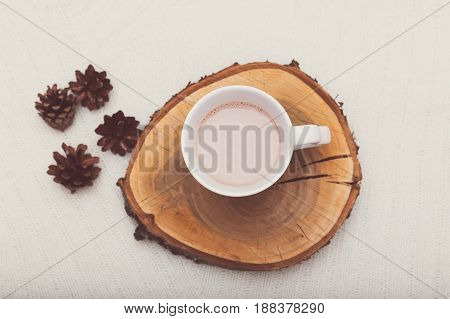 Time relax. A cup of hot cocoa and bumps for decor