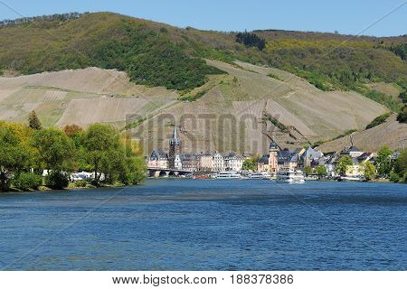 Moselle River near Bernkastel-Kues with City View