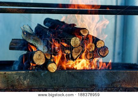 Wood Burning In The Fireplace Closeup. Home Warm Orange Bonfire With Pieces Of Wood