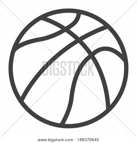 Basketball ball line icon, sport and game, vector graphics, a linear pattern on a white background, eps 10.