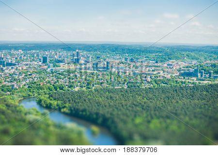 Vilnius cityscape from above, aerial view. Tilt shift image